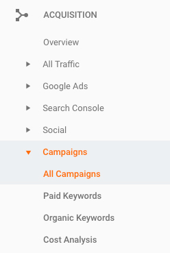 analytics acquisition all campaigns screenshot