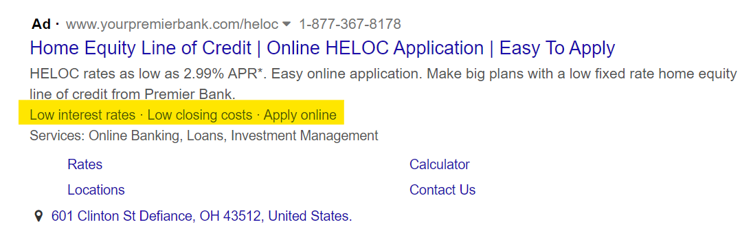 Paid Search Image with Callout Extensions