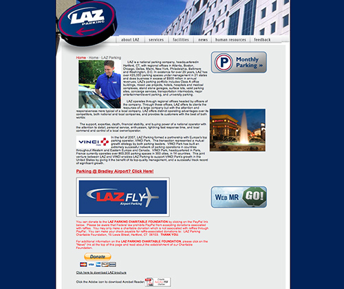 Laz site before Zag Interactive