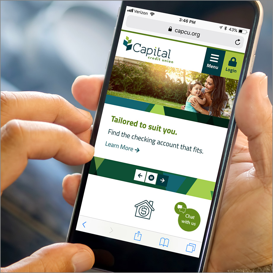 Capital Credit Union site on mobile phone