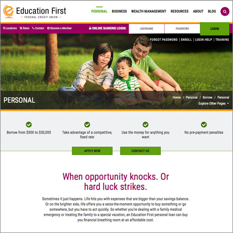 Education First section main website page