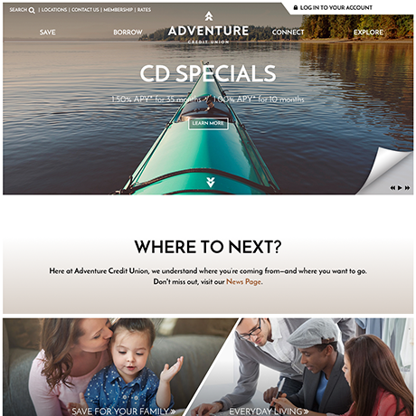 Adventure Credit Union new website design