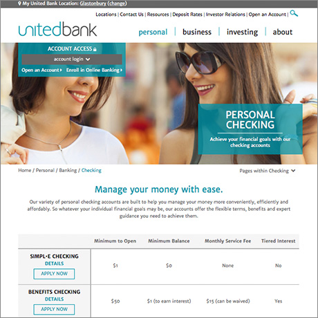 United Bank personal checking page