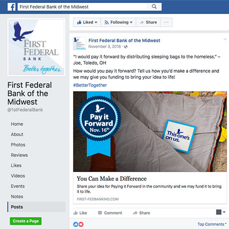 First Federal Bank Pay it Forward Facebook example