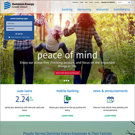 dominion energy home page redesign