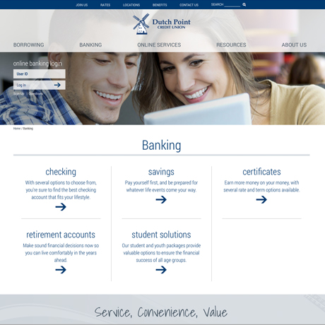 Dutch Point Credit Union redesigned website
