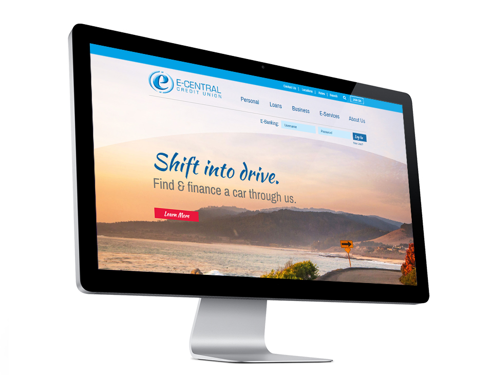 E Central CU in CA's newly redesigned website on a tablet