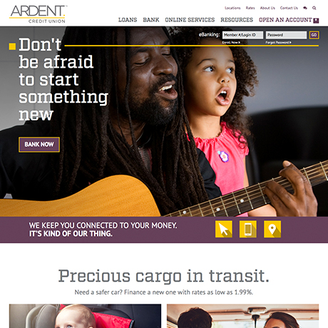 Ardent Credit Union responsive website homepage