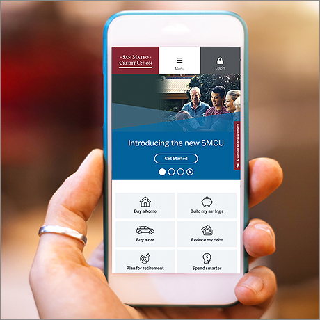 San Mateo Credit Union website on mobile device