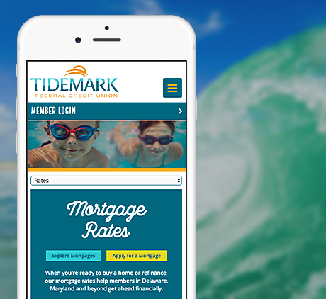 tidemark fcu site on mobile phone